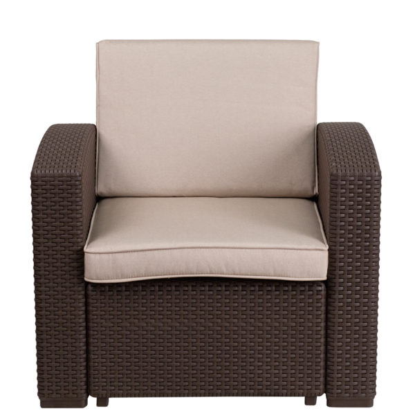 Outdoor Chair - Faux Rattan- Chocolate