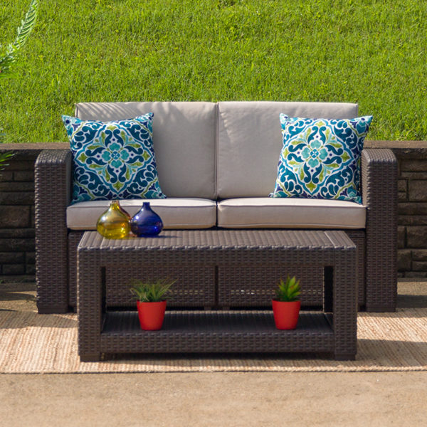 Outdoor Loveseat - Faux Rattan - Chocolate Brown, Hotel Pool Patio Furniture