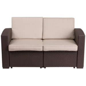 Outdoor Loveseat - Faux Rattan - Chocolate Brown