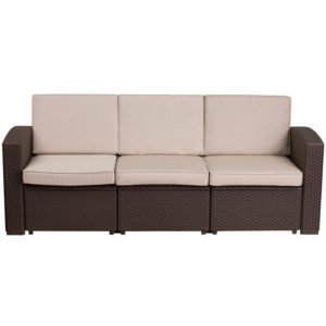 Outdoor Sofa, Faux Rattan, Brown w Outdoor Cushions