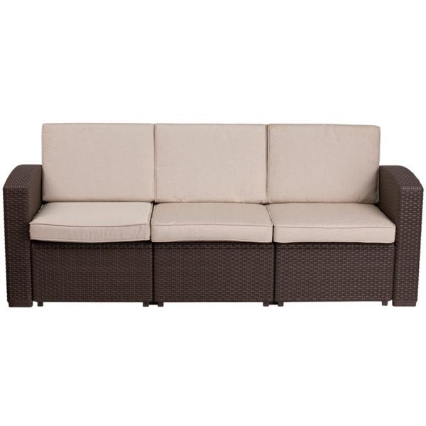 Outdoor Sofa, Faux Rattan, Brown w Outdoor Cushions