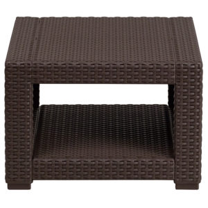 Outdoor End Table - Faux Rattan - Chocolate Brown