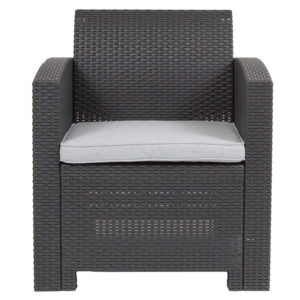 Outdoor Chair - Faux Rattan - Dark Gray
