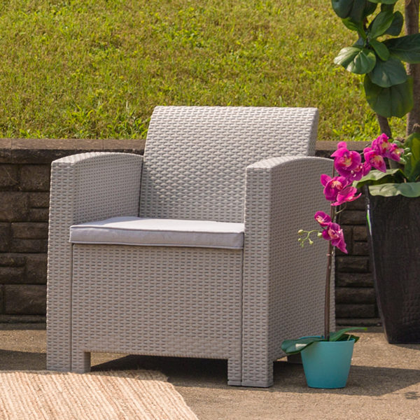 Outdoor Chair, Light Gray w/ Cushion, Faux Rattan Wicker