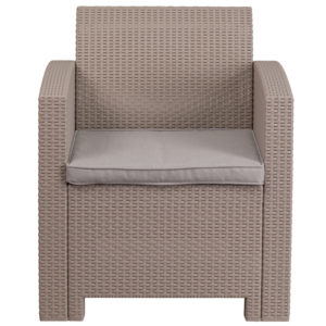 Faux Rattan Outdoor Chair, Light Grey w/ Cushion