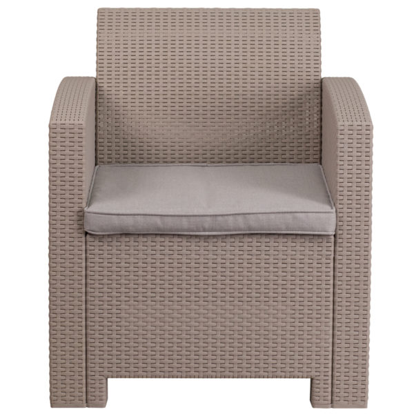 Faux Rattan Outdoor Chair, Light Grey w/ Cushion