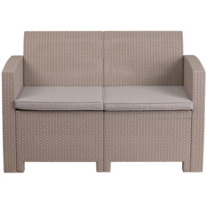 Outdoor Loveseat - Faux Rattan Wicker - Light Grey