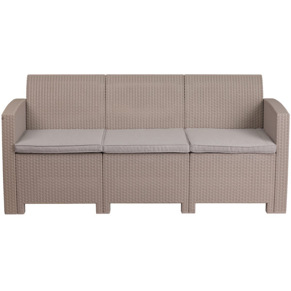Outdoor Sofa - Faux Rattan Wicker - Light Grey