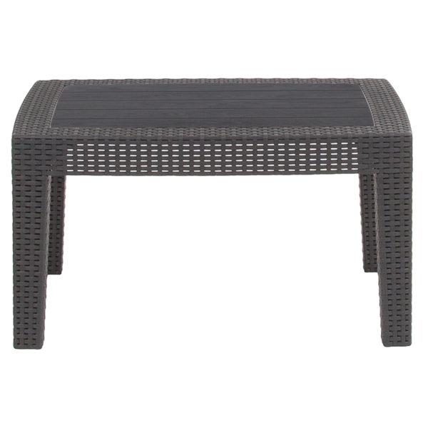 Outdoor Coffee Table, faux rattan or wicker, dark grey