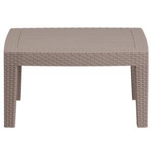 Outdoor Coffee Table - Faux Rattan Wicker - Light Grey