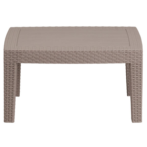 Outdoor Coffee Table - Faux Rattan Wicker - Light Grey