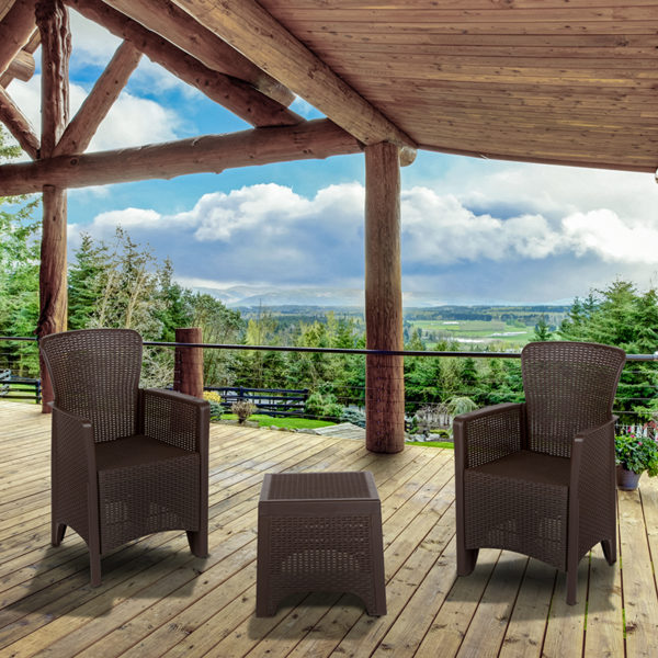 Outdoor Seating Set with Table - Faux Rattan - Chocolate Brown