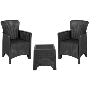 Outdoor Seating Set, Faux Rattan Wicker, Dark Grey