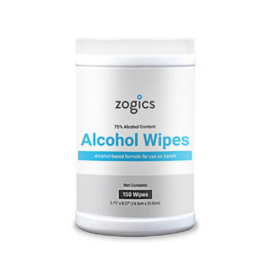 Alcohol Wipes, Zogics, Large Wipes, 150ct tub, case of 12 tubs