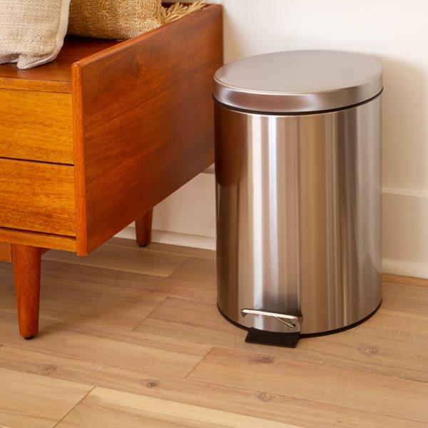 Stainless Steel Trash Can - Fingerprint Resistant, Soft Close, Step Lid - 3.2 Gallon
