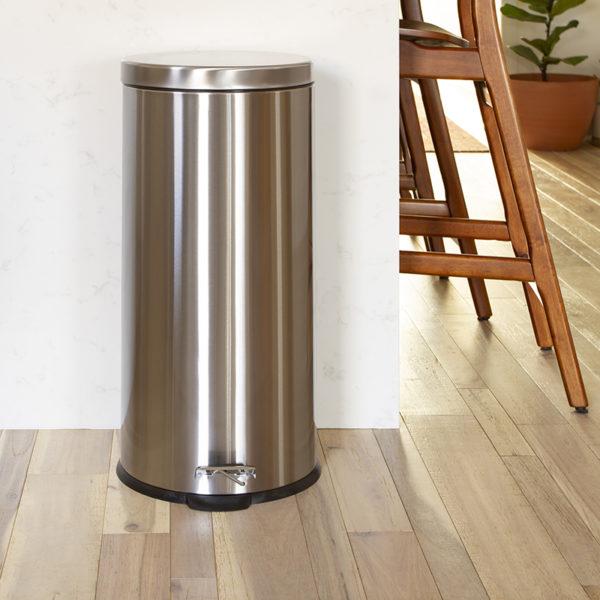 Stainless Steel Trash Can - Fingerprint Resistant, Soft Close, Step Lid - 7.9 Gallon