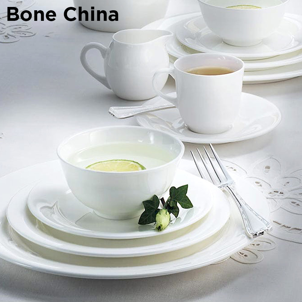 Example of bone china upscale dinnerware plates & bowls for hotel & resort banquets