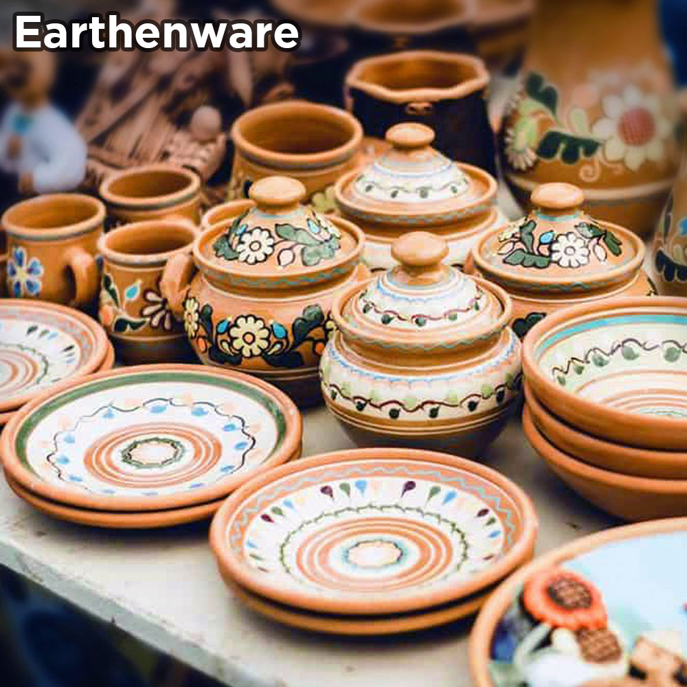 An example of earthenware dinnerware, plates and bowls