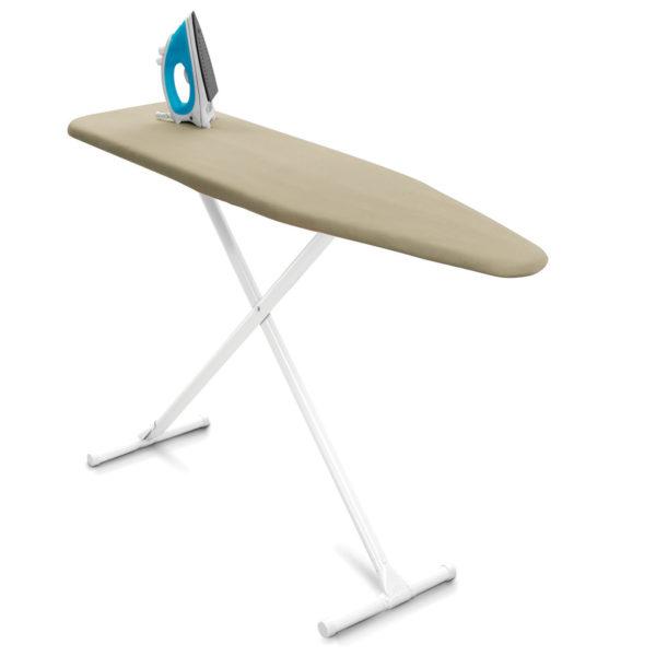 """Deluxe Hotel Board 53"""" X 13"""" - 1 3/8"""" White Legs 6.5 oz fiber pad - Almond Cover"""